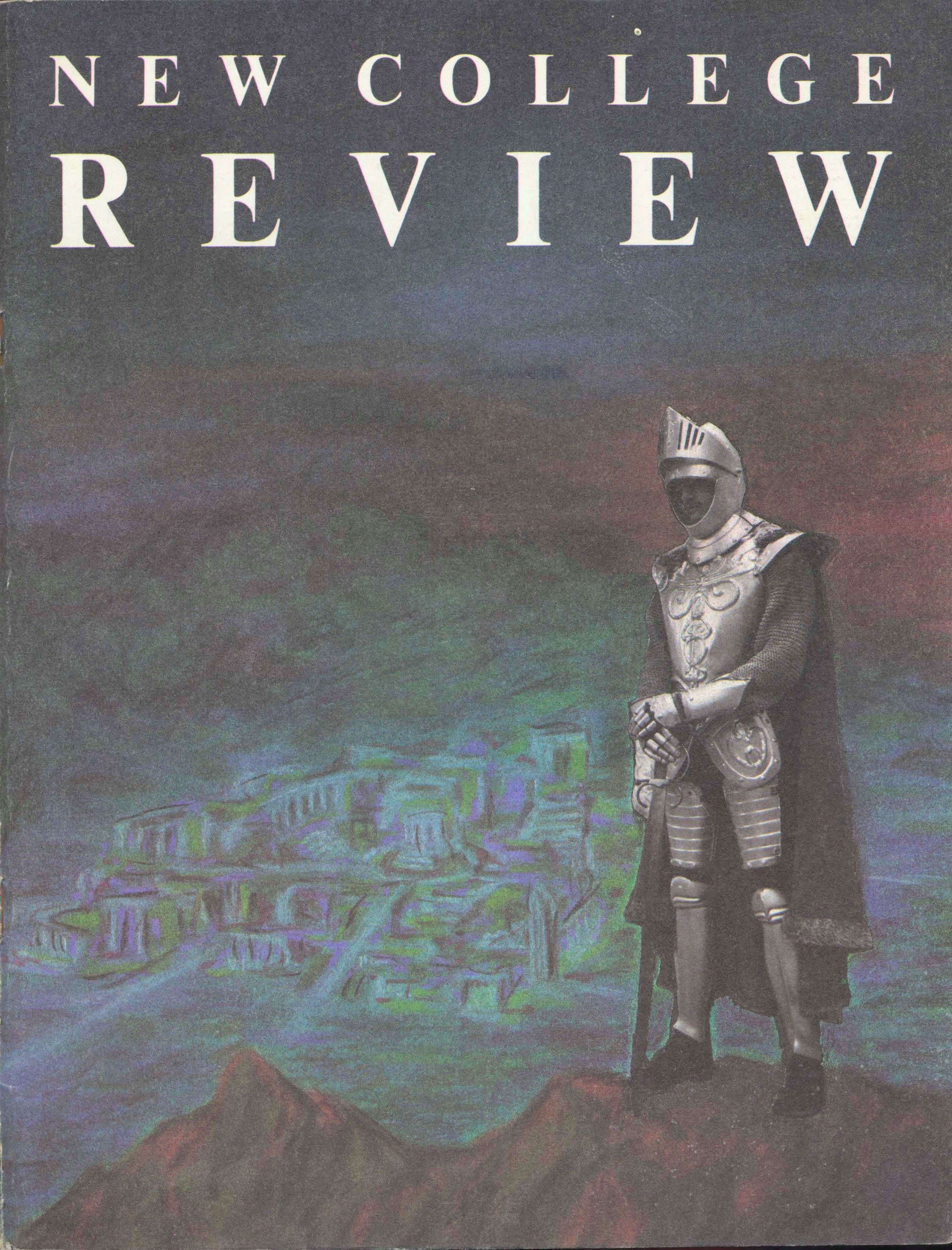Cover of New College Review from 1985 with a silver knight holding a sword