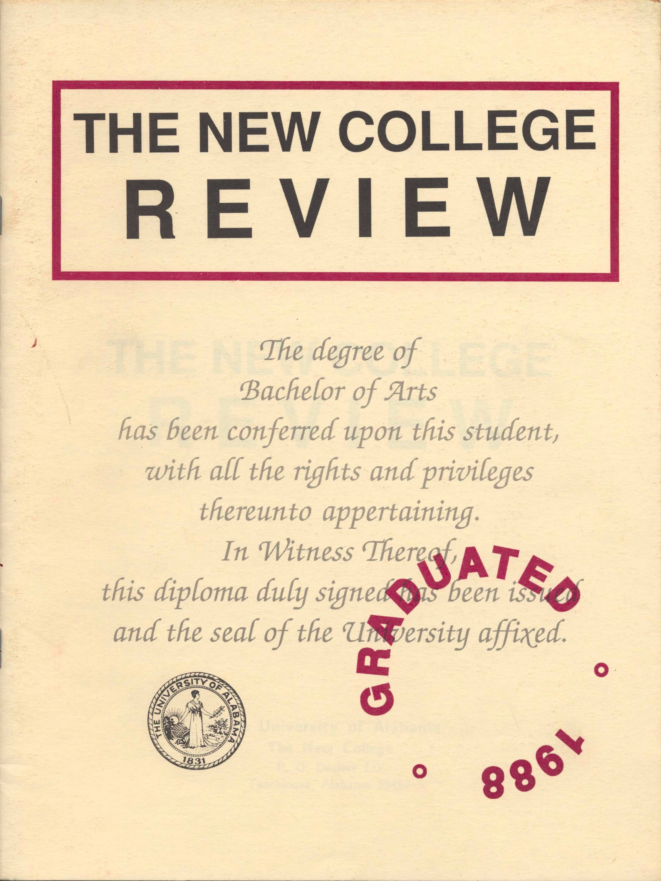cover of New College Review 1988 issue