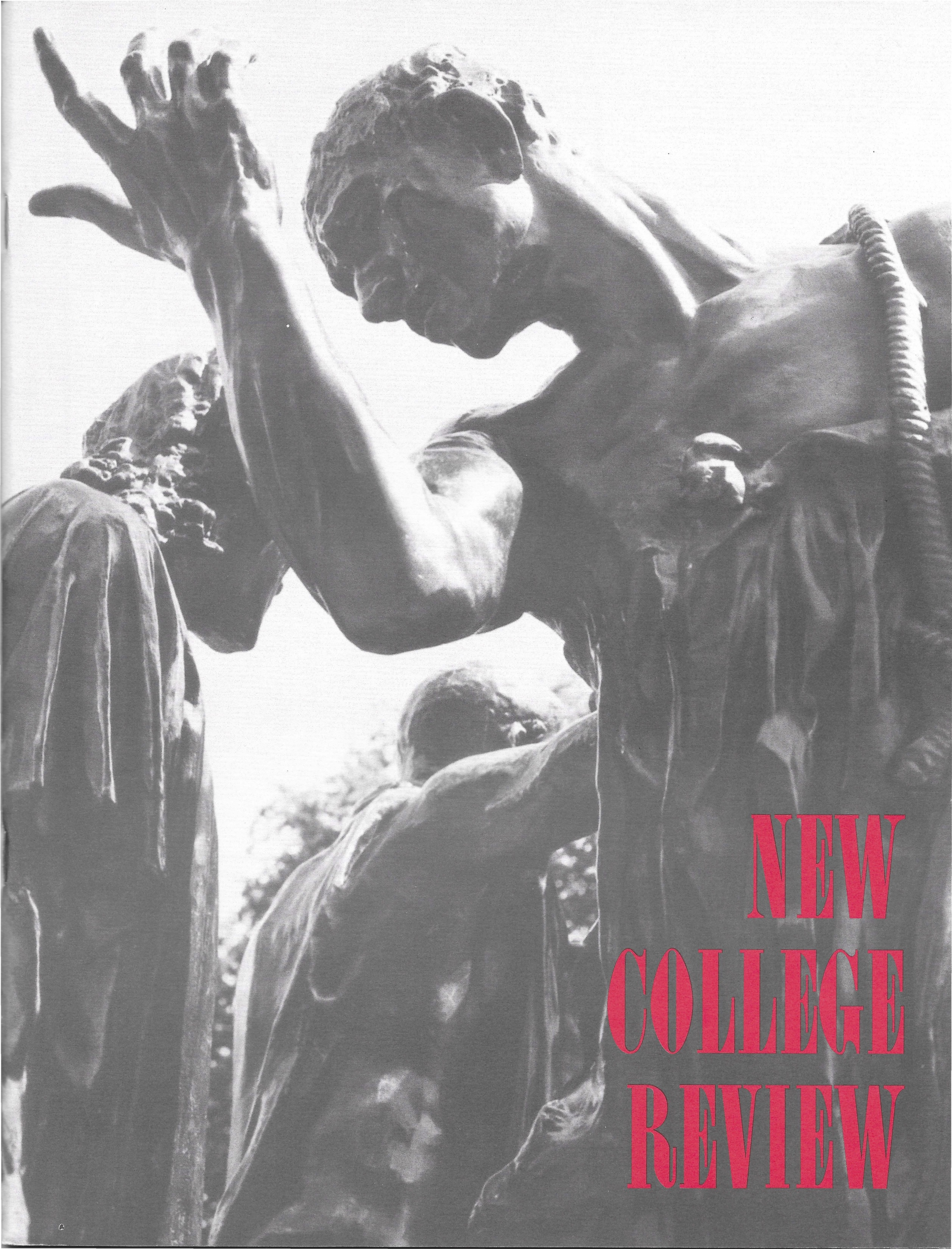 Cover of New College Review issue from 1992 with sculptures of human figures