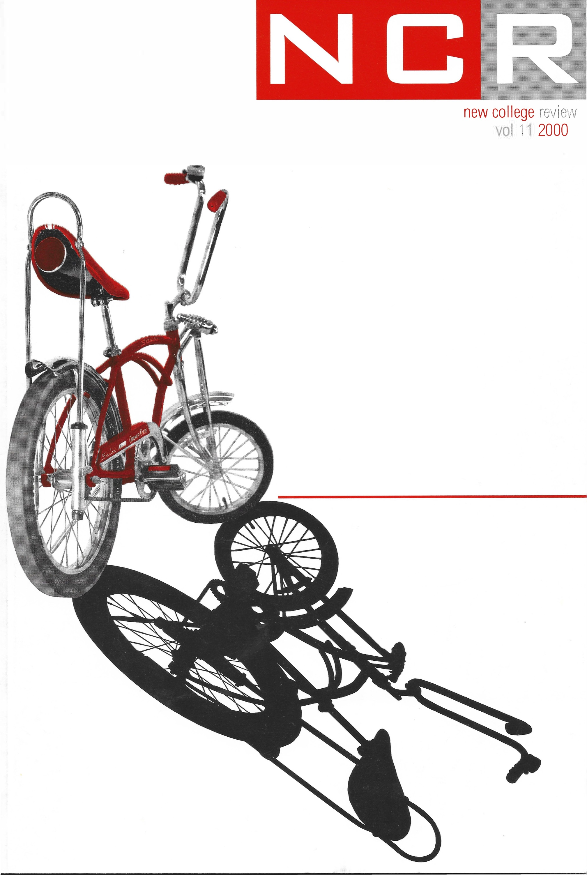 New College Review Volume 11 from 2000 with an image of a red bicycle