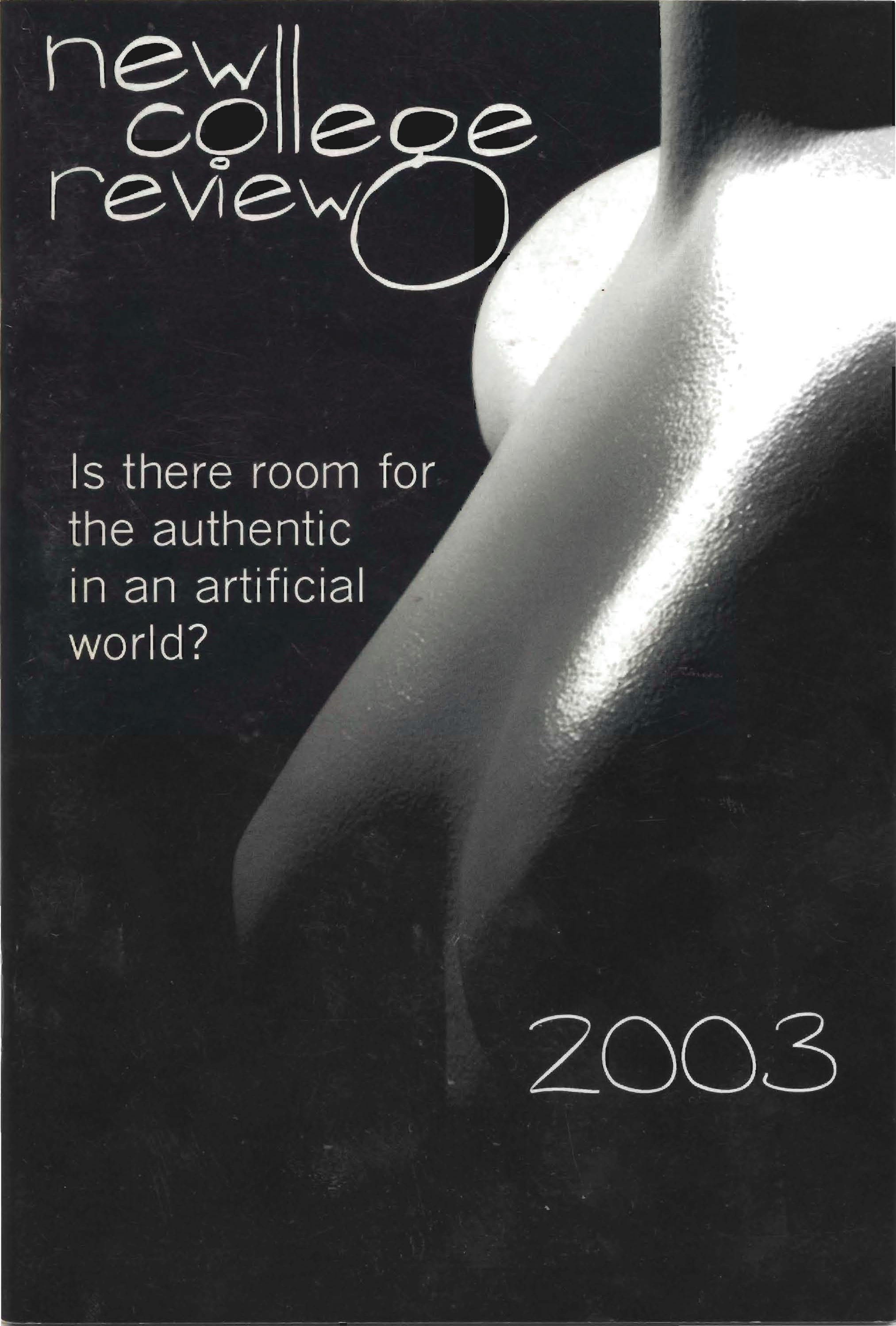 Cover of The New College Review, 2003 issue with the words,