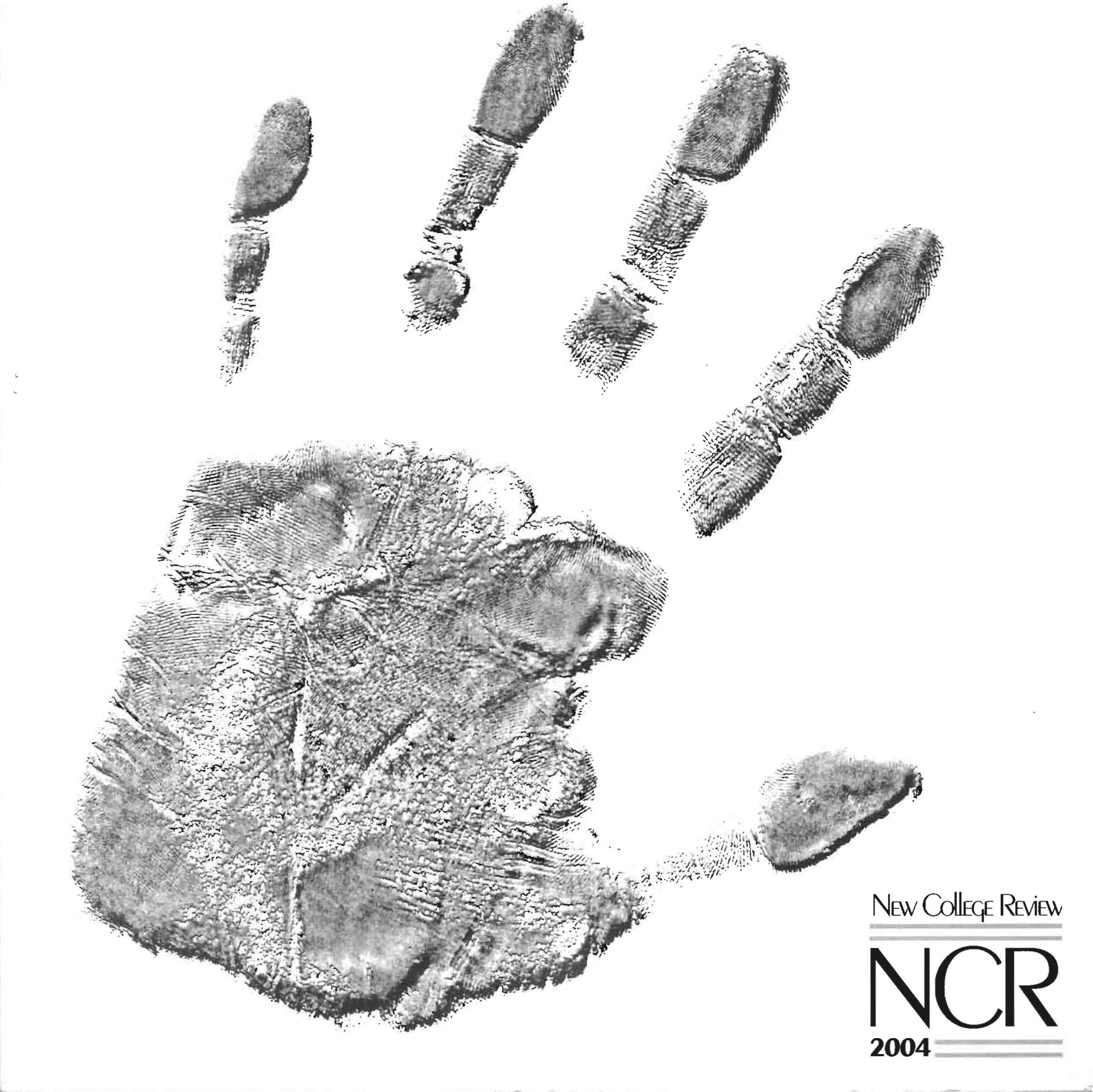 Cover of The New College Review, 2004 issue featuring a human handprint