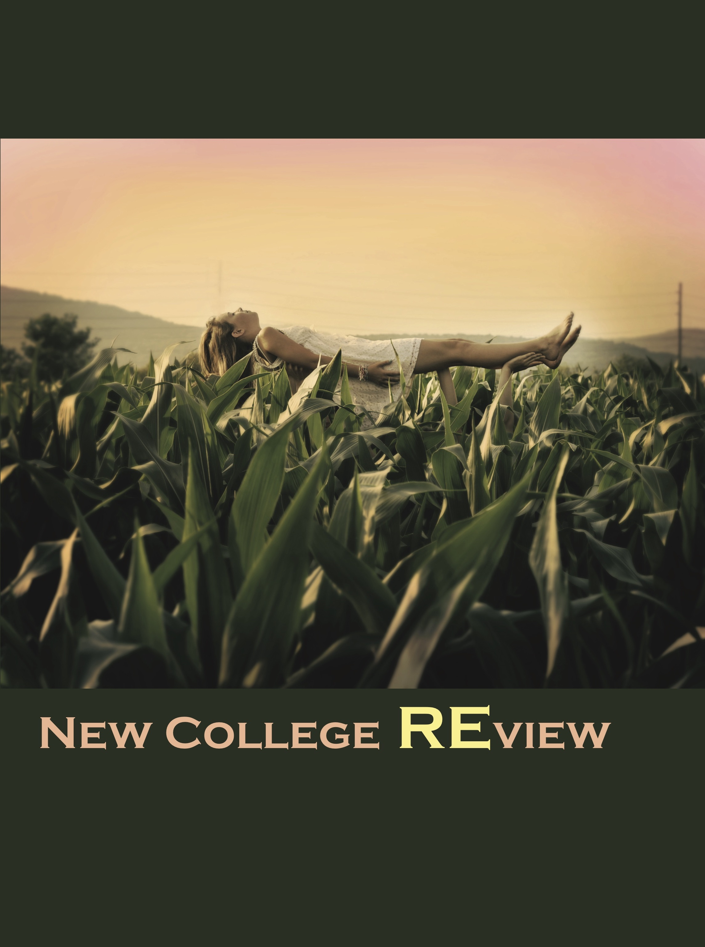 Cover of The New College Review, 2012 issue featuring a girl being carried through a cornfield