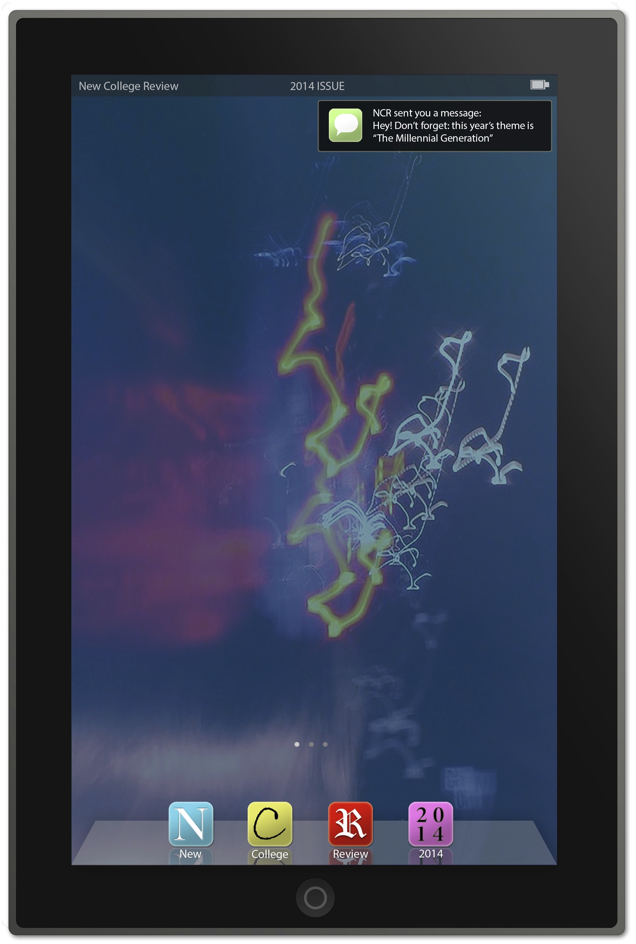 Cover of The New College Review, 2014 issue featuring a tablet screen