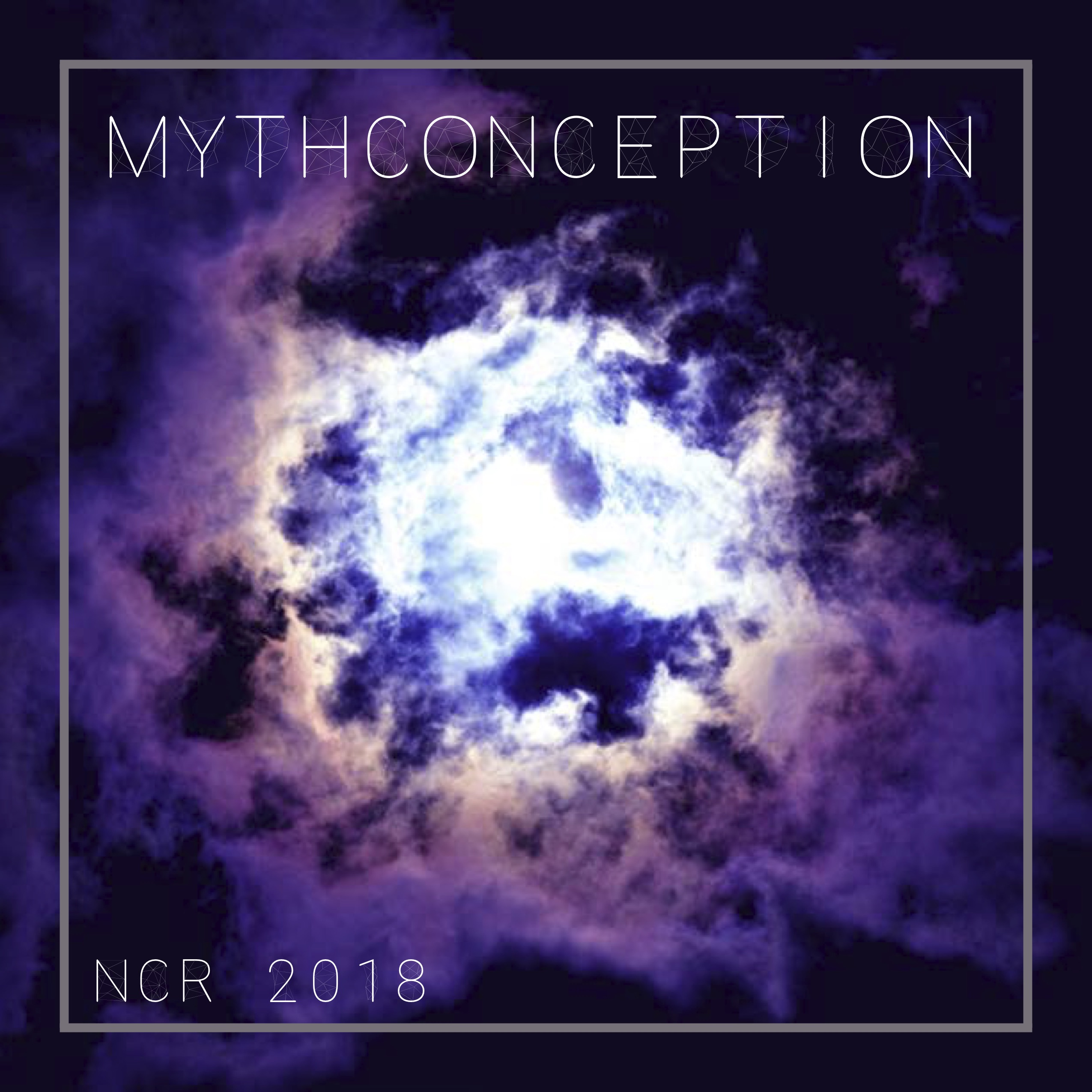 2018 issue cover of The New College Review, featuring a cloudy sky tinted in purple with the title Mythconception