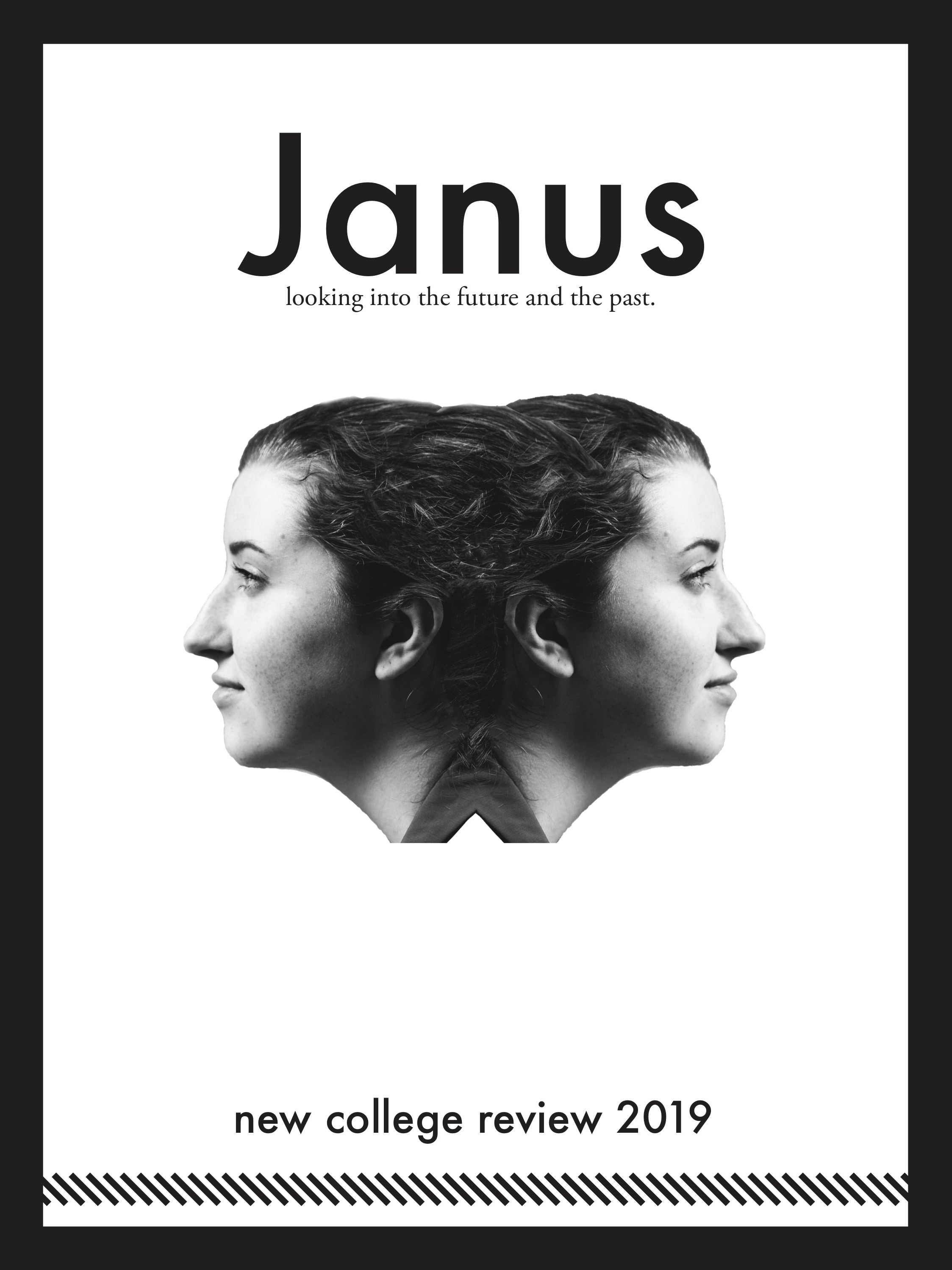 2019 cover of The New College Review featuring two students' faces looking in opposite directions and the title Janus, looking into the future and the past