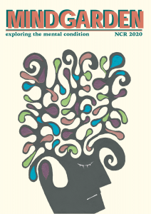 "New College Review 2020 issue cover, featuring painting of a face with colorful, swirling strokes as hair, and title ""Mindgarden: Exploring the Mental Condition"""